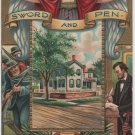 Lincoln Centennial Birthday Postcard, The Sword and Pen, Home in Springfield Illinois c.1908