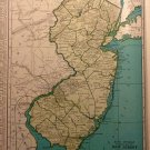 Map of New Jersey, Rand McNally, Collier's World Atlas c.1949