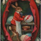 Easter Holiday Postcard, Dapper Rabbit Painting Eggs c.1907