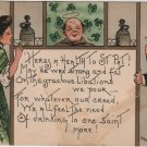 St. Patricks Day Postcard, Ode to Libation and Saints, Full Color c.1907