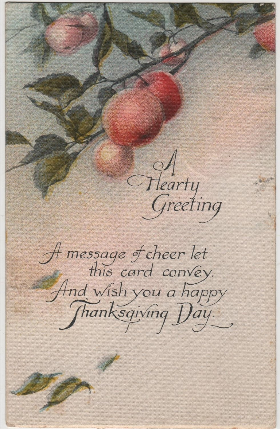 Thanksgiving Postcard, An Apple Tree and a Hearty Greeting c.1919