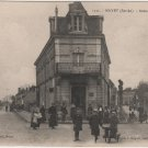 Mayet France Postcard, Building on Avenue de la Gara, WWI Era in Black & White c.1917
