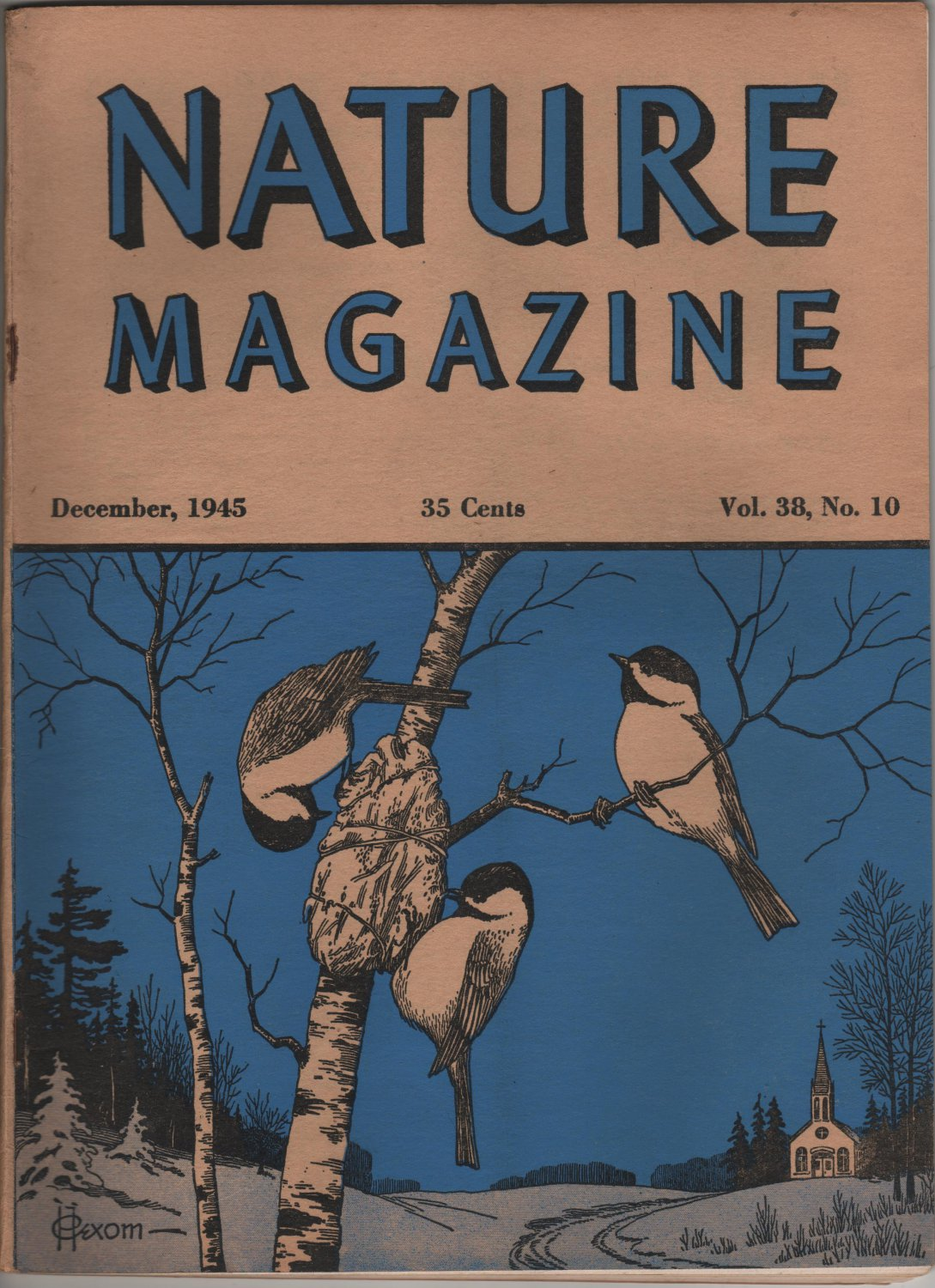 Nature Magazine, Chickadees Nesting, Blue Hexom Cover c.1945