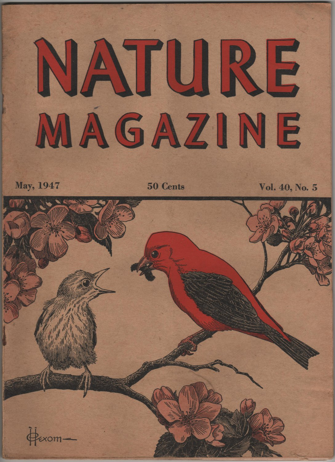 Nature Magazine, Scarlet Tanager, Red Hexom Cover c.1947