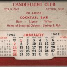 Candlelight Club Cocktail Bar Calendar Giveaway, Dayton Ohio, Red & White c.1962