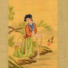 Japanese Print on Silk, Young Laundress c.1930