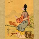 Japanese Print on Silk, Young Woman Watching Birds c.1930