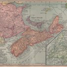 Map of Canadian Maritime Provinces, C.S. Hammond Atlas, Full Color c.1910