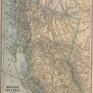 Map of British Columbia Canada, C.S. Hammond Atlas, Full Color c.1910