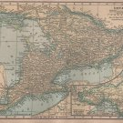 Map of Ontario Canada, C.S. Hammond Atlas, Full Color c.1910