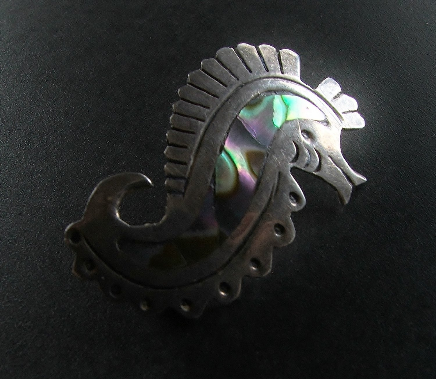 Taxco Sterling & Abalone Seahorse Brooch c.1940
