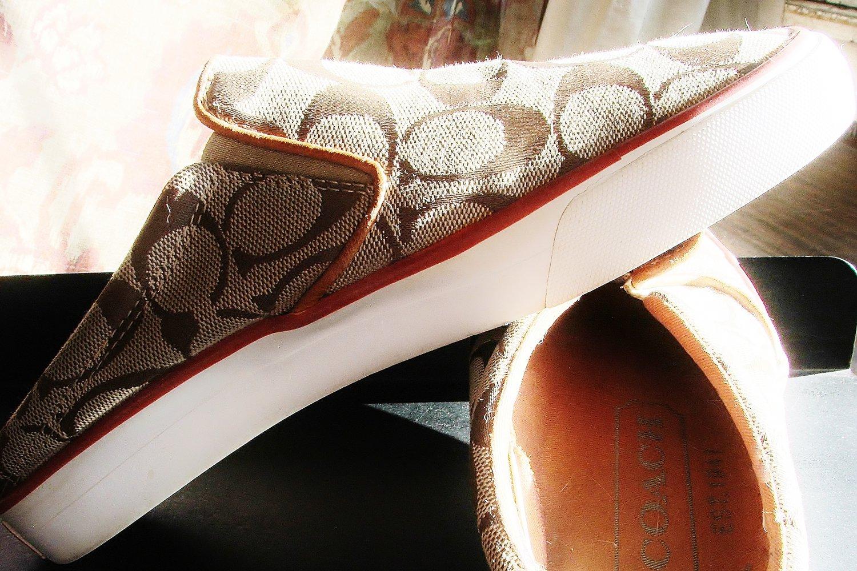 Coach Shoes, Khaki and Vermillion, 7.5