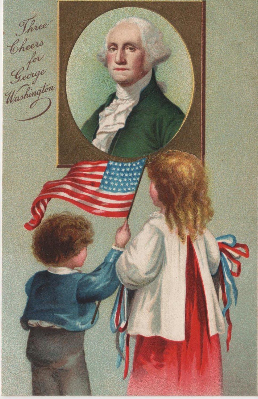 Geo. Washington Bday Postcard, Children & Portrait  c.1909