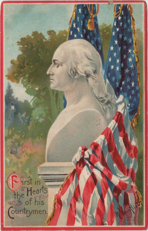 George Washington Bday Postcard, Bust & Flags  c.1910