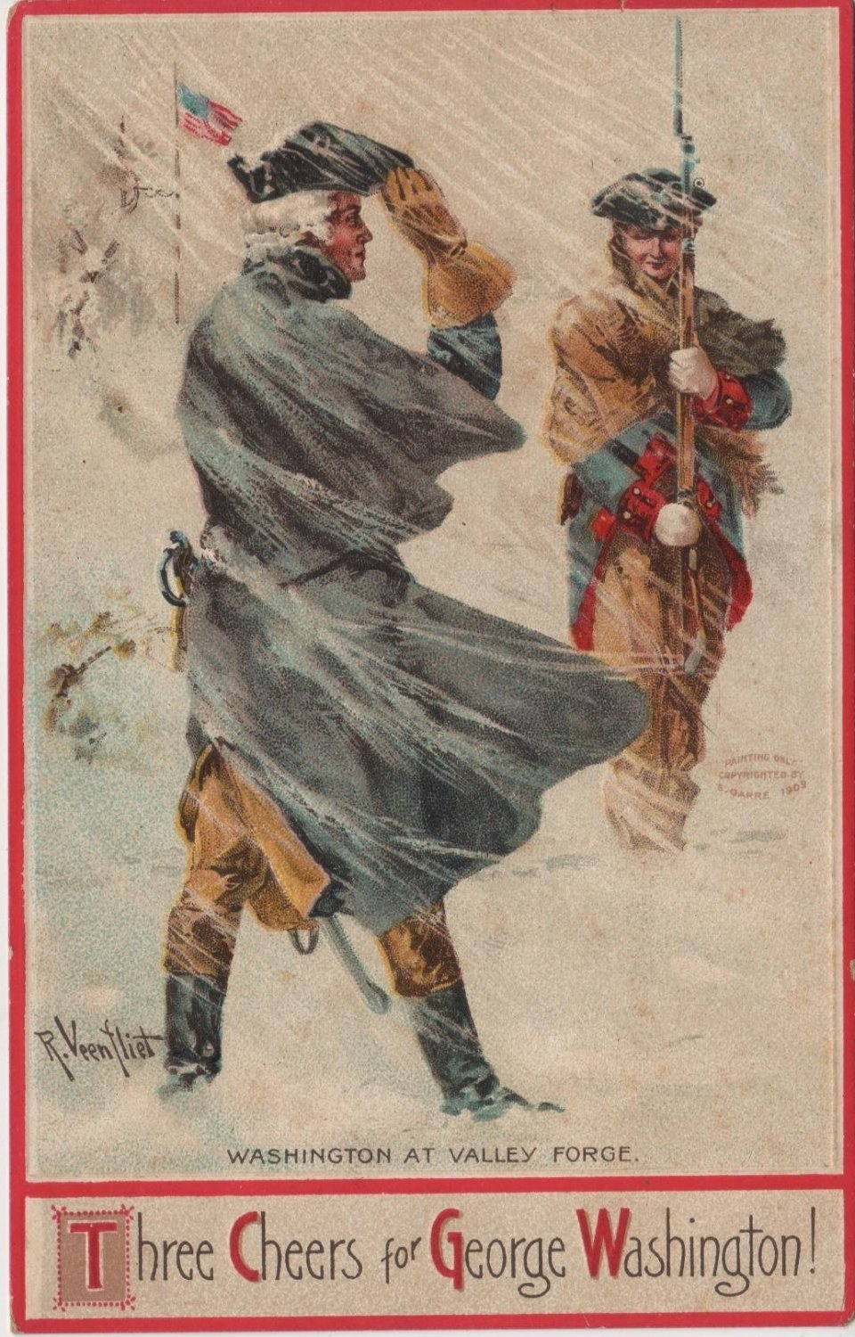 George Washington Bday Postcard, Valley Forge c.1910