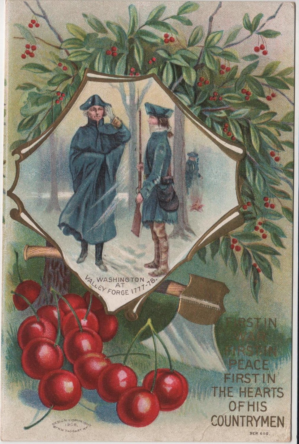 Geo. Washington Bday Card, Cherries & Valley Forge c.1908