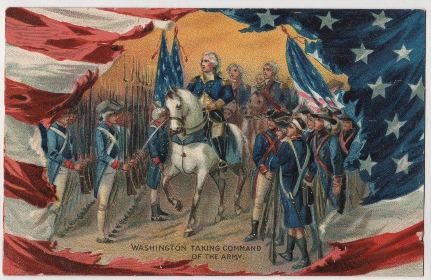 Geo. Washington Bday Card, Taking Command of Army c.1908