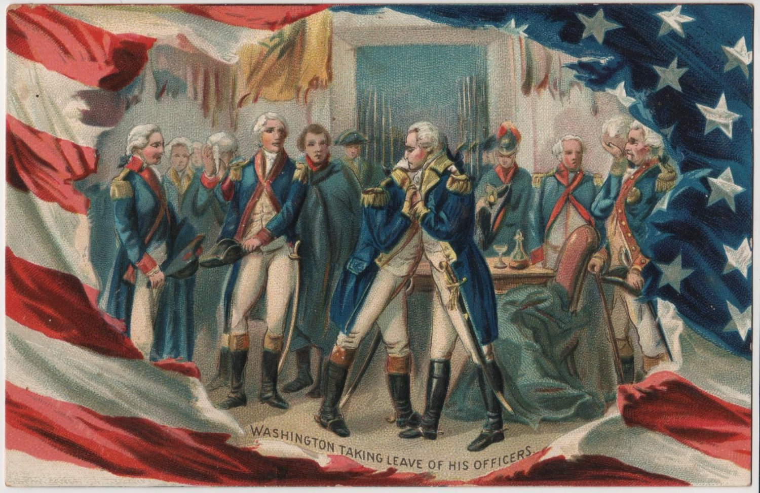 Geo. Washington Bday Card, Taking Leave of Officers c.1908