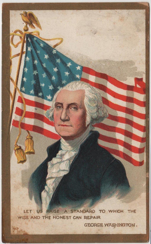 George Washington Bday Postcard, Portrait & Flag c.1909