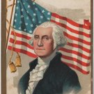 George Washington Bday Postcard, Portrait & Flag c.1909