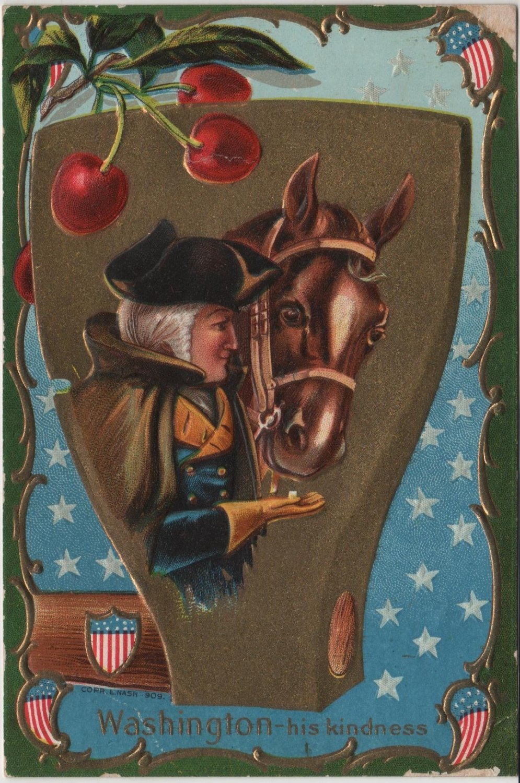 Geo. Washington Bday Card,  Horse, Cherries & Flag c.1909