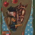 Geo. Washington Bday Card,  Horse, Cherries & Flag c.1909