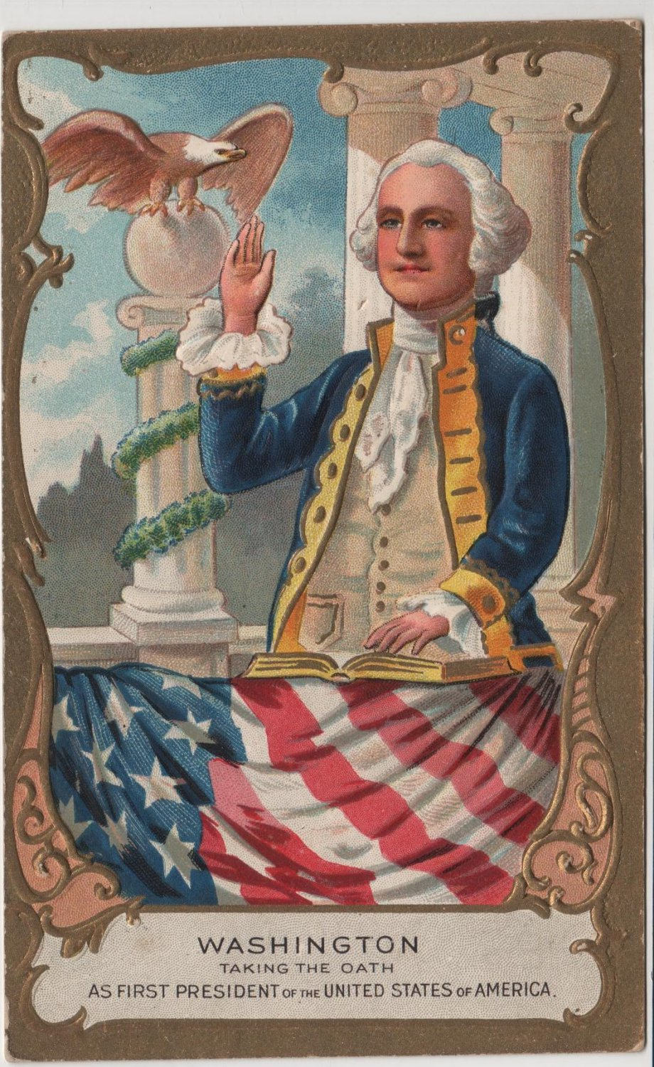 George Washington Bday Postcard, Taking The Oath c.1909