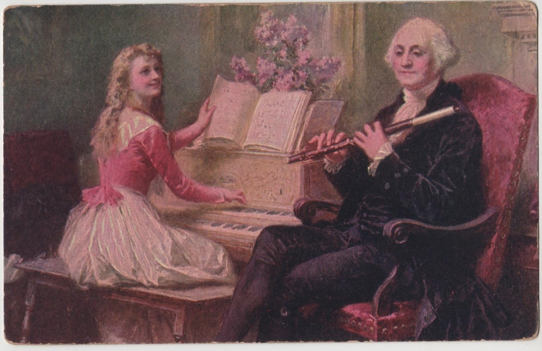 George Washington Bday Postcard, Playing Music c.1909