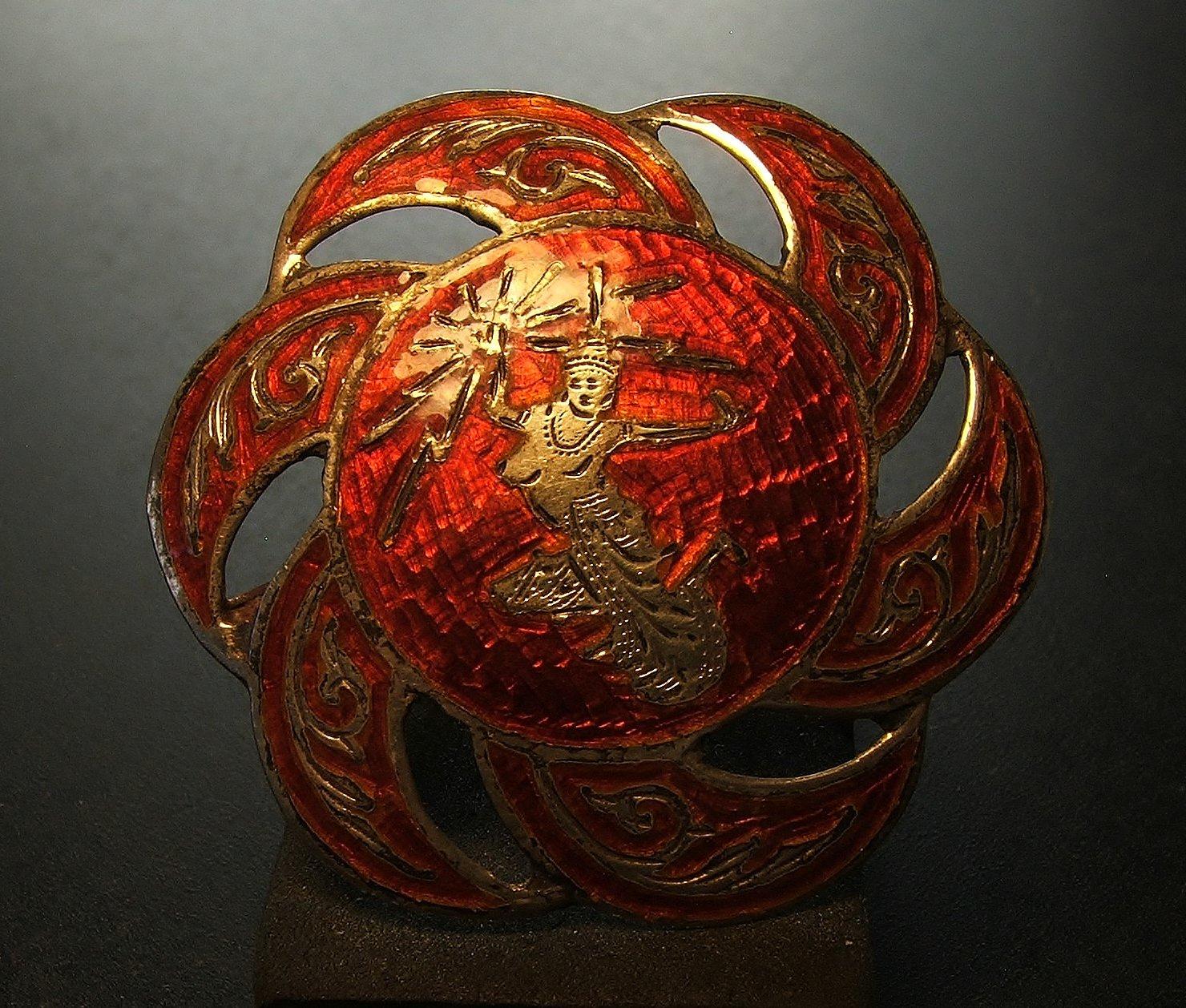 Siam Sterling Silver & Red Enamel Brooch c.1949