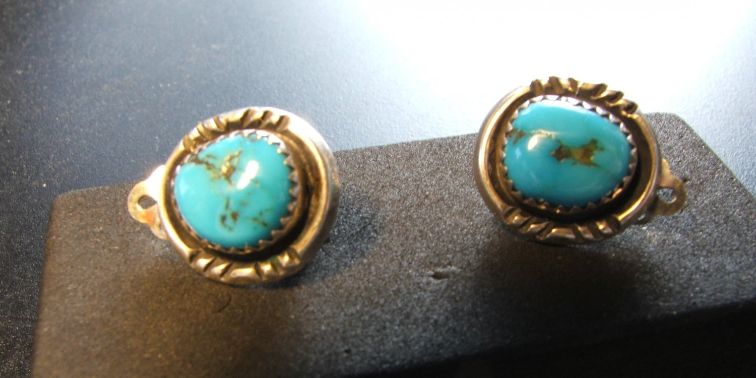 Navajo Silver & Turquoise Earrings c.1959