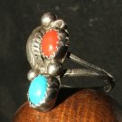 Vintage Branch Coral Ring in Navajo Silver c.1959