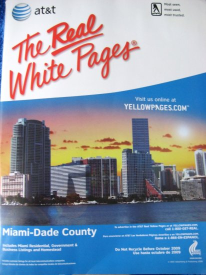 Phone Book THE REAL WHITE PAGES Miami-Dade FL 2007/2008
