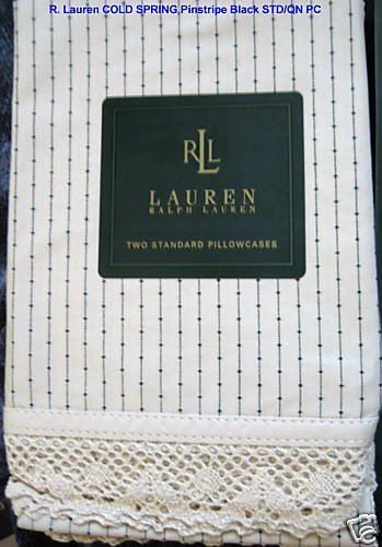 R Lauren COLD SPRING Pinstripe Black STD Pillowcases