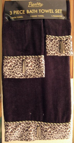 Leopard Cheetah Safari Print Trim Black Bath Towel Set