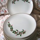 CHRISTMAS HOLLY 2 HOLIDAY Dinner Plates ALL THE TRIMMINGS Japan NEW