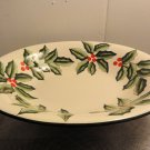 "Baum Bros HOLLY Christmas SERVING BOWL Holidays OVAL Large 14.75"" x 12"" BRAND NEW"