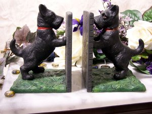 Standing Scottie Cast Iron Bookends - 13 lbs. - Very Heavy -  $27.95