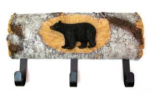BEAR ON LOG 3 HOOK COAT RACK - DISCOUNT GIFTS ONLINE