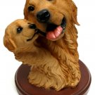 Living Stone Golden Retriever with Pup Bust on Base - Discount Gifts Online