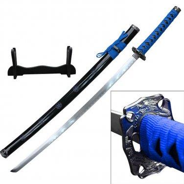 "Samurai Katanas 26.5"" Carbon Steel Blade Blue Wrap w/Wood Display"