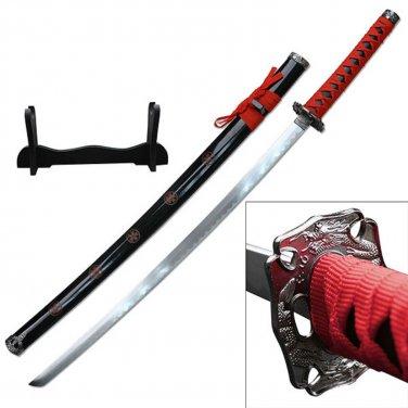 "Samurai Katanas 26.5"" Carbon Steel Blade Red Wrap w/Wood Display"