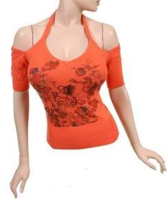 orange off-the-shoulder halter