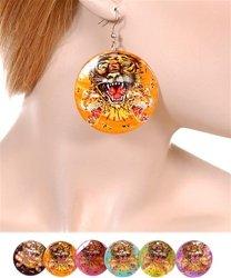 Tattoo tiger earrings