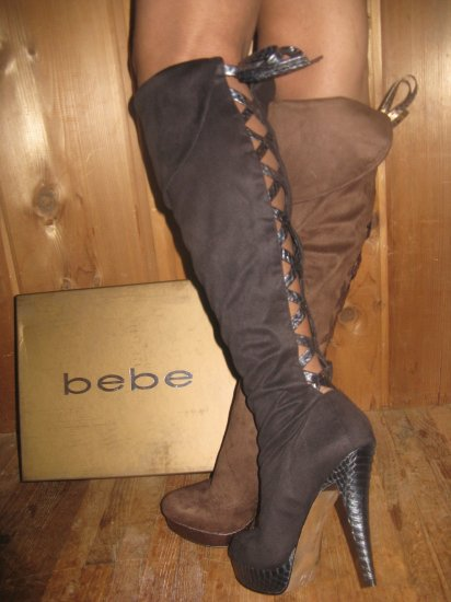 bebe Madison Thigh High Corset Boot 6 7 8 9 10