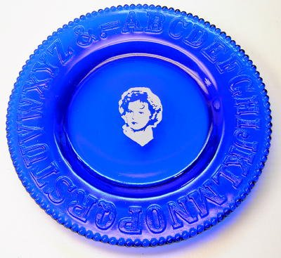 Shirley Temple Logo ABC Plate in Cobalt Blue