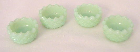 Set of 4 Salt Cellars Hobnail in Jade
