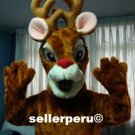 NEW ADULT REINDEER DELUXE CHRISTMAS COSTUME MASCOT up 5' 8""