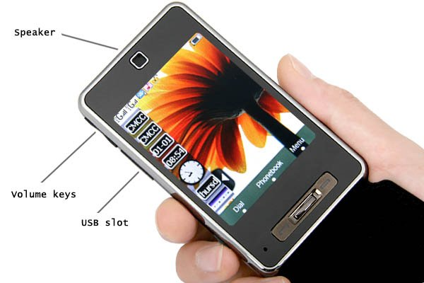 "2GB TF + 3.0"" 3-Band 2-SIm Standby PDA Mobile Phone PB5-T45"