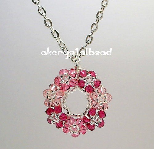 *Free Shipping* Swarovski Crystal pink floral pendant necklace #11