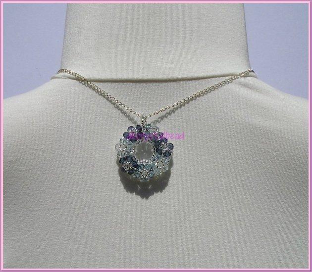 *Free Shipping* Swarovski Crystal blue floral pendant necklace#9